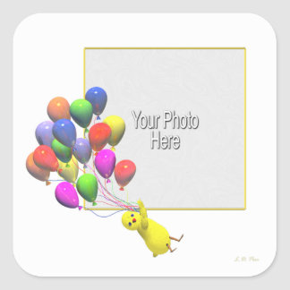 Birthday Chicken and Balloons (photo frame) Square Sticker