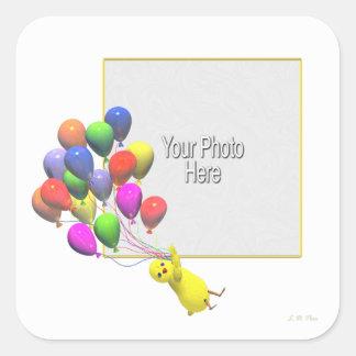 Birthday Chicken and Balloons (photo frame) Sticker