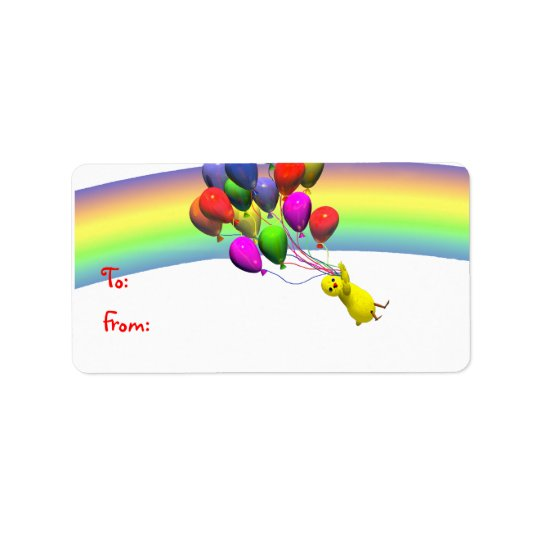 Birthday Chicken Flight Gift Tag Address Label