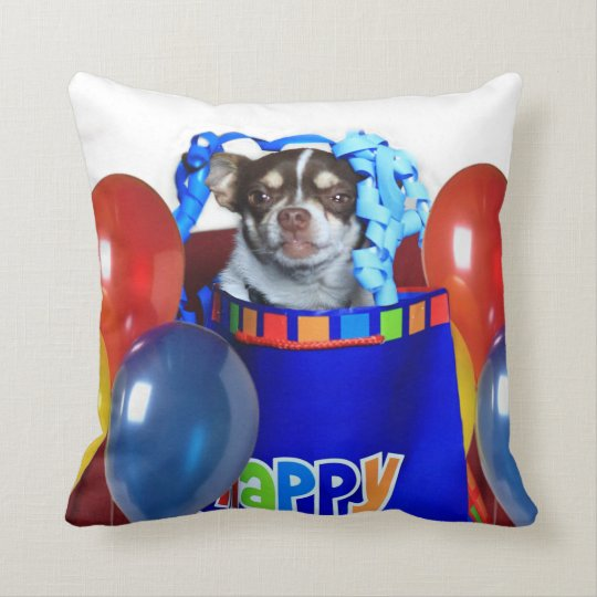 Birthday Chihuahua dog throw pillow