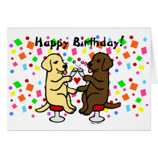 Birthday Chocolate Lab and Yellow Lab Card