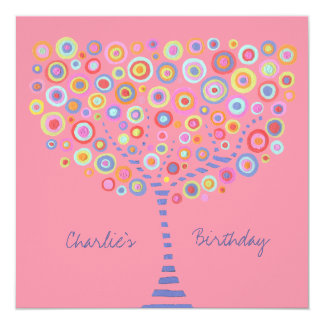 Birthday Circle Tree Retro Personalized Invitation