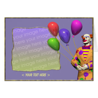 Birthday Clown and Balloons (photo frame) Cards