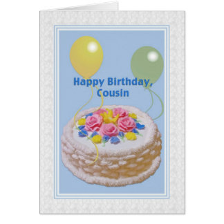Birthday, Cousin, Cake and Balloons Card