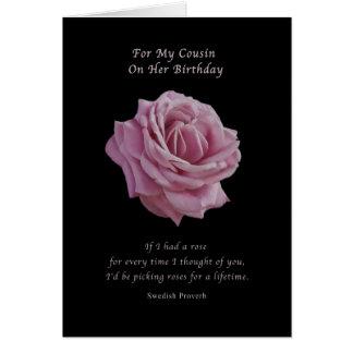 Birthday, Cousin,  Pink Rose on Black Card