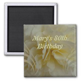 Birthday Cream Floral Swirls Sticker Square Magnet