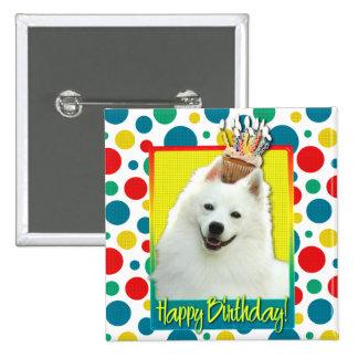 Birthday Cupcake - American Eskimo 15 Cm Square Badge