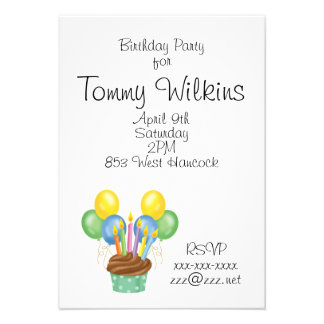 Birthday Cupcake and Candles Personalized Invite