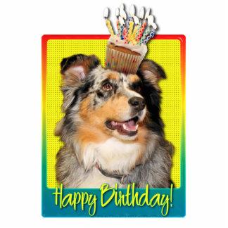 Birthday Cupcake - Australian Shepherd - Dustine Photo Sculpture