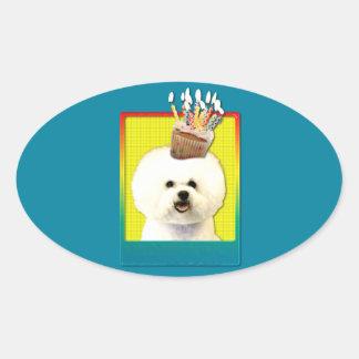 Birthday Cupcake - Bichon Frise Oval Stickers