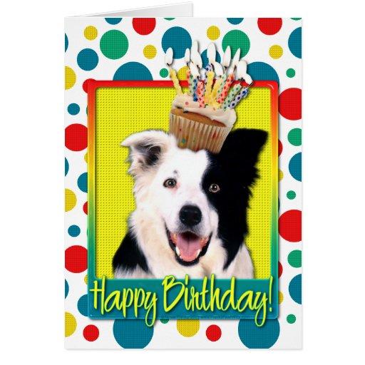 birthday cupcake  border collie greeting card  zazzle