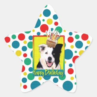 Birthday Cupcake - Border Collie Star Sticker