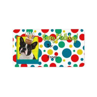 Birthday Cupcake - Boston Terrier Address Label