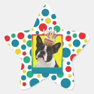 Birthday Cupcake - Boston Terrier Star Sticker