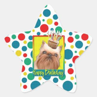 Birthday Cupcake - Brussels Griffon Star Sticker
