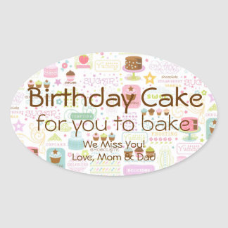 Birthday Cupcake Cake to Bake Gift in a Jar Label Oval Sticker