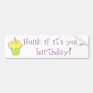 Birthday cupcake design bumper sticker
