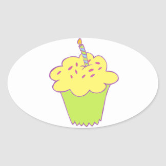 Birthday cupcake design oval sticker