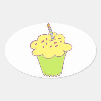 Birthday cupcake design oval sticker