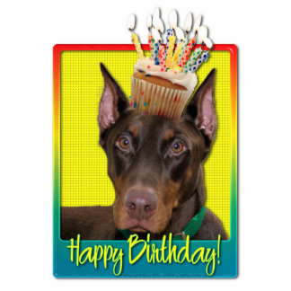 Birthday Cupcake - Doberman - Red - Rocky Acrylic Cut Out