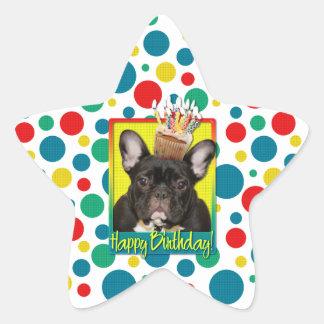 Birthday Cupcake - French Bulldog - Teal Star Sticker