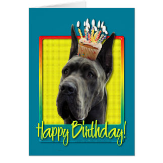 Birthday Cupcake - Great Dane - Grey Card