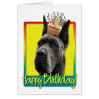 Birthday Cupcake - Great Dane - Grey Greeting Card
