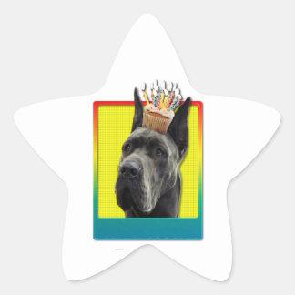 Birthday Cupcake - Great Dane - Grey Star Sticker