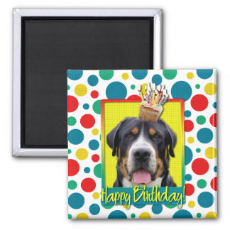 Birthday Cupcake - Greater Swiss Mountain Dog Square Magnet