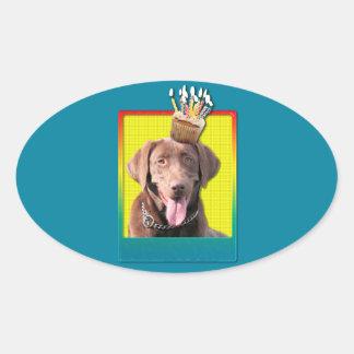 Birthday Cupcake - Labrador - Chocolate Oval Sticker