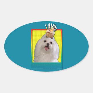 Birthday Cupcake - Maltese Oval Sticker