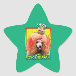 Birthday Cupcake - Poodle - Red Sticker