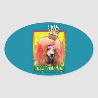 Birthday Cupcake - Poodle - Red Stickers