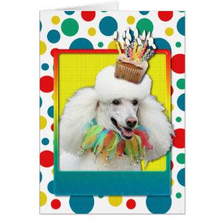 Birthday Cupcake - Poodle - White Greeting Card