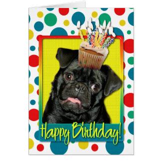 Birthday Cupcake - Pug - Ruffy Greeting Card