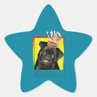 Birthday Cupcake - Pug - Ruffy Star Sticker