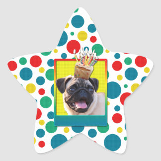 Birthday Cupcake - Pug Star Stickers