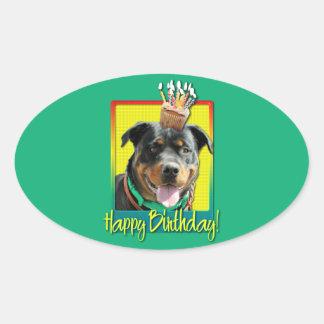Birthday Cupcake - Rottweiler - SambaParTi Oval Stickers