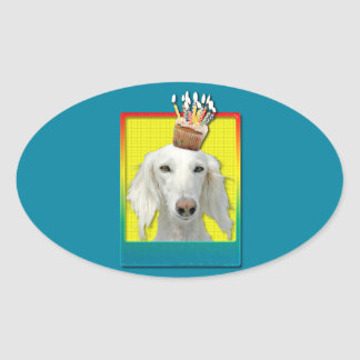 Birthday Cupcake - Saluki Oval Stickers