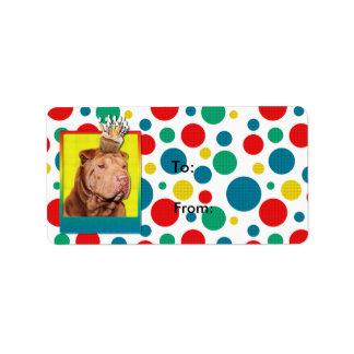 Birthday Cupcake - Shar Pei - Lucky Address Label