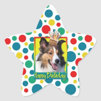 Birthday Cupcake - Sheltie Star Sticker