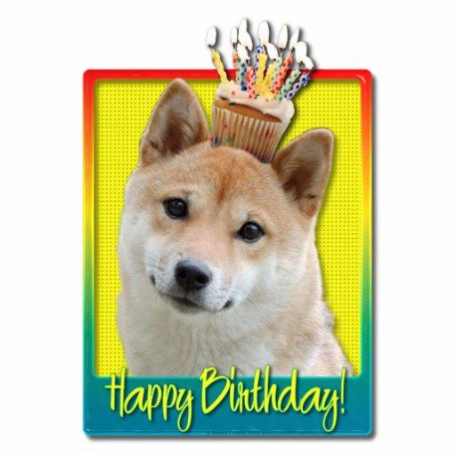 Birthday Cupcake - Shiba Inu Photo Cutout