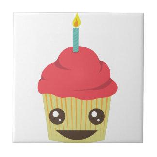 Birthday Cupcake Small Square Tile