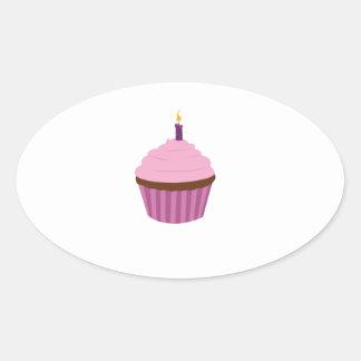 Birthday Cupcake Oval Stickers