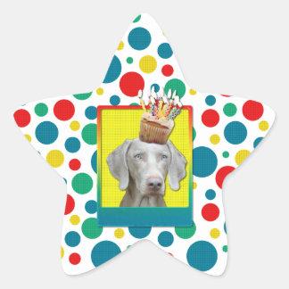 Birthday Cupcake - Weimeraner Star Sticker