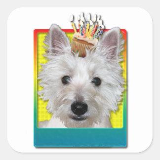 Birthday Cupcake - Westie - Tank Square Sticker