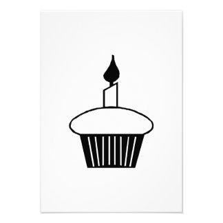 Birthday Cupcake with Candle Custom Invitations