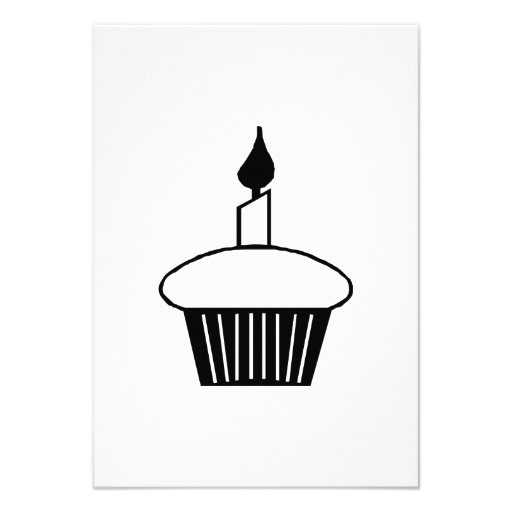 Birthday Cupcake with Candle Custom Invitations