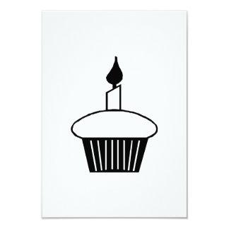 Birthday Cupcake with Candle 9 Cm X 13 Cm Invitation Card