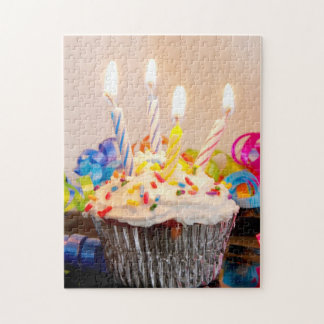 Birthday Cupcake with Candles Jigsaw Puzzle